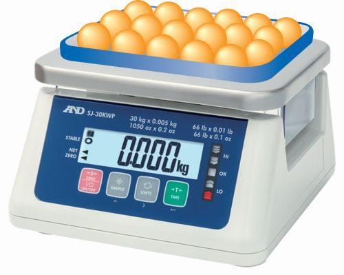 A&D SJ-WP SERIES - IP67 RATED COMPACT FOOD PROCESSING SCALE