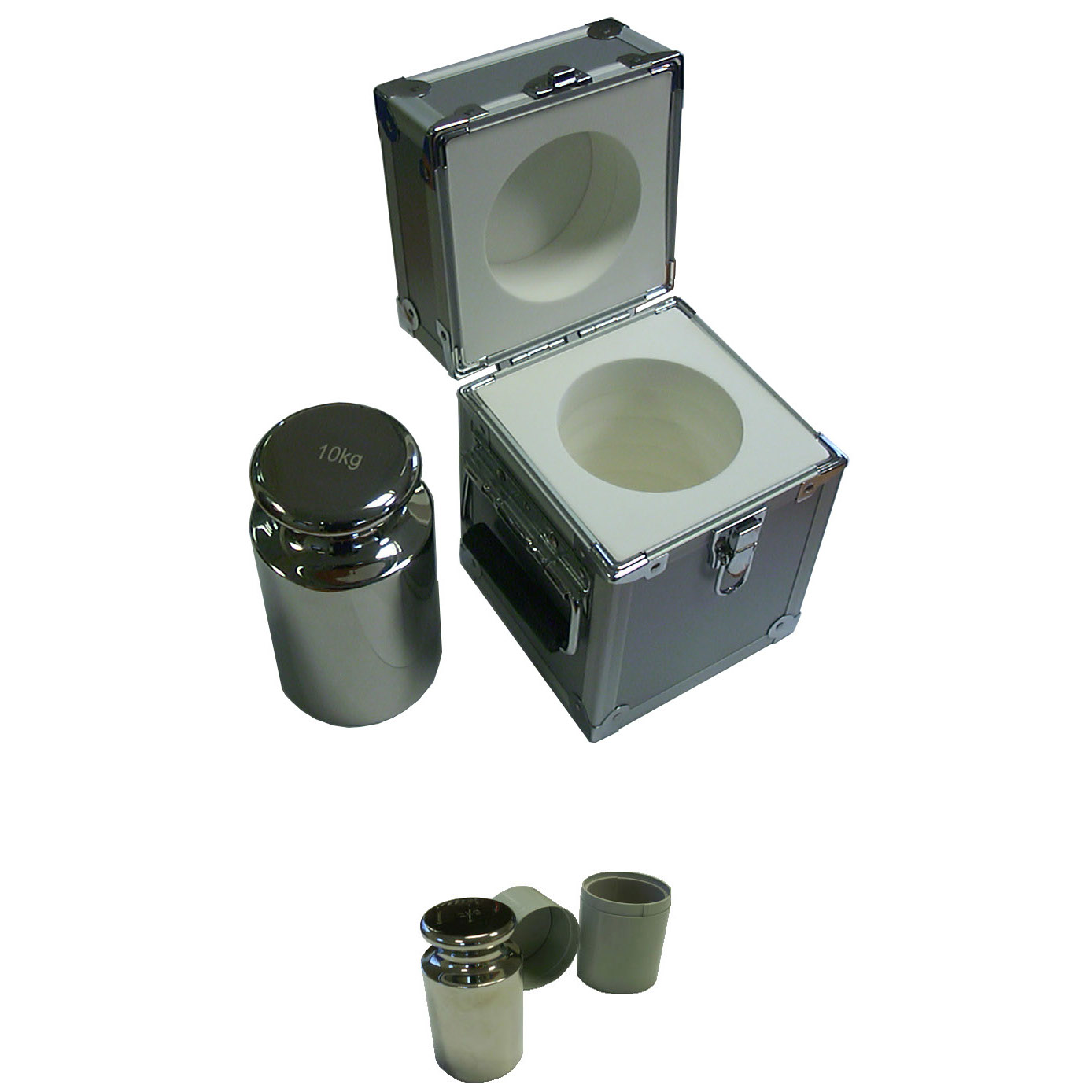 POLISHED STAINLESS STEEL CALIBRATION WEIGHTS with CONTAINERS | countyscales.co.uk